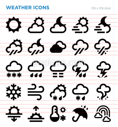 Weather Forecast Climate Icon Set