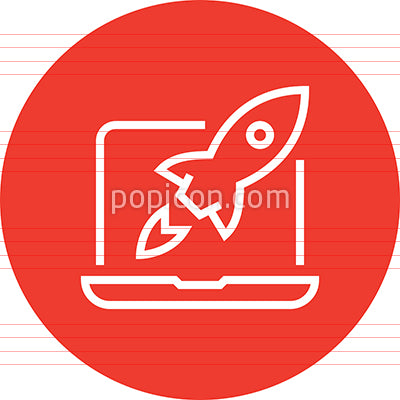 Website Launch Outline Vector Icon