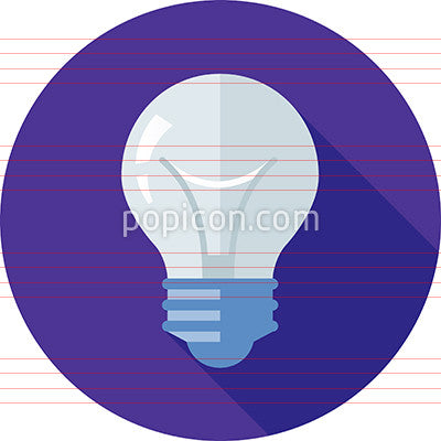White Light Bulb Icon On Background - Flat Color Series