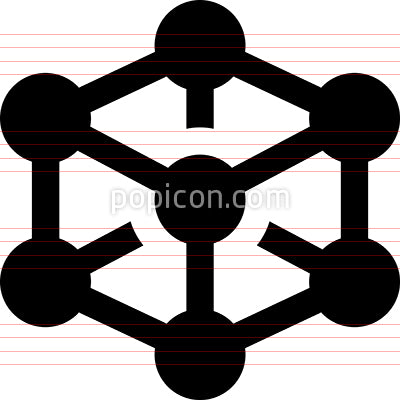 Wireframe Mesh Cube Vector Icon