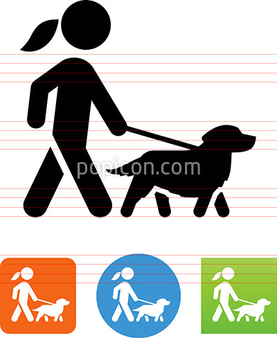 Woman Walking Golden Retriever Icon