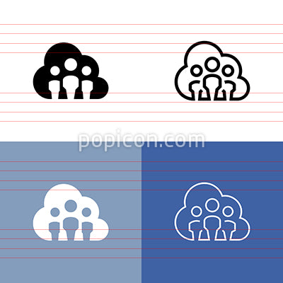 Workplace In The Cloud Icon Set