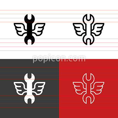 Wrench With Wings Icon Set