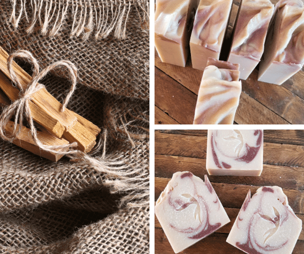 Palo Santo Wood Coconut Milk Soap Bars in grid with Palo Santo wood sticks and burlap