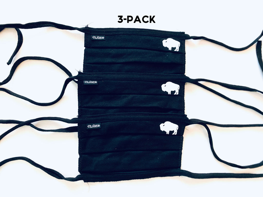 3-Pack of Pleated Black Buffalo Face masks