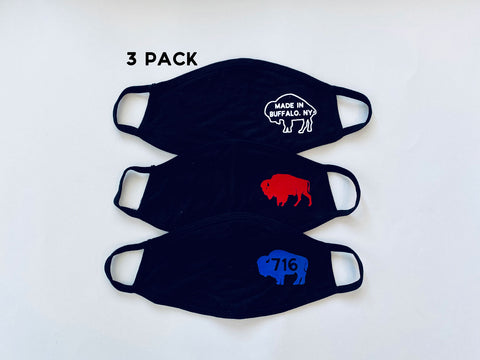 3-Pack of Buffalo (Black) Face masks