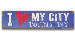 I heart my city rustic sign