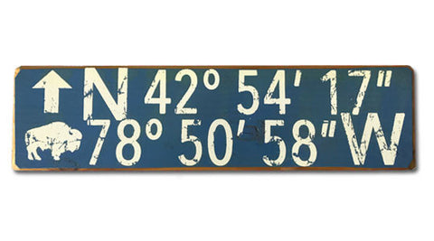 Longitude-Latitude Buffalo rustic sign