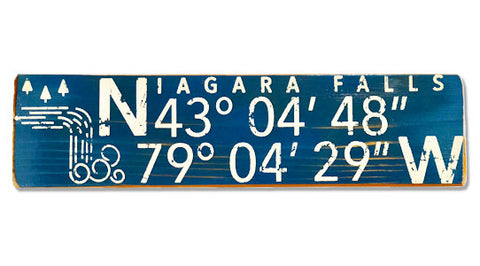 Niagara Falls Longitude Latitude rustic wood sign