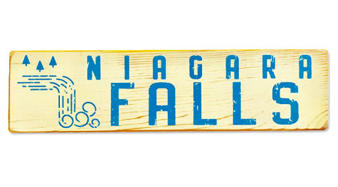 Niagara Falls (white) rustic wood sign