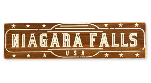 Niagara Falls rustic wood sign