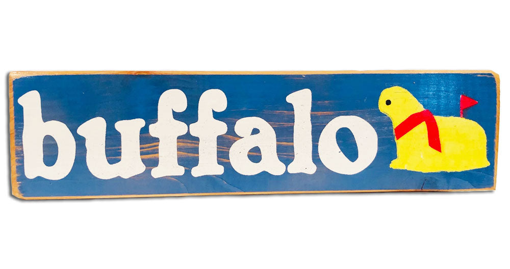 Buffalo butter lamb rustic sign