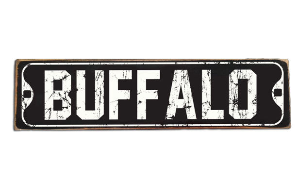 Vintage black & white Buffalo street sign