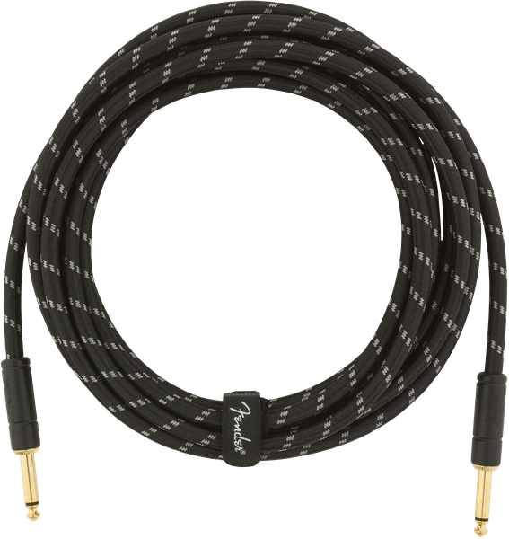Fender Deluxe Series Instrument Cable, Straight/Straight, 15', Black Tweed