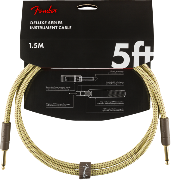 Fender Deluxe Series Instrument Cable Five Foot Cable Tweed Cable