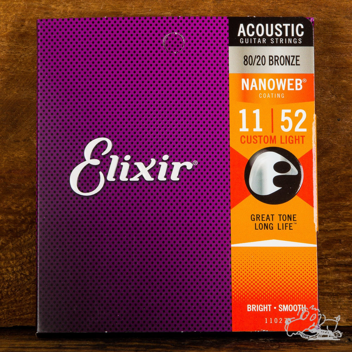 Elixir Nanoweb Coating Acoustic Guitar Strings 80/20 Bronze Custom Light 11-52