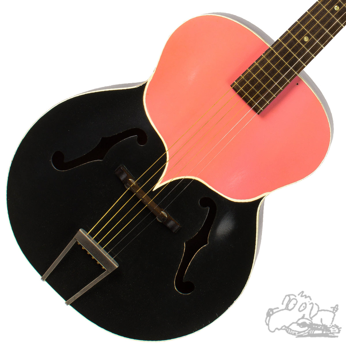 1950's Harmony Catalina H1220 - Charcoal Grey and Pink - Archtop Acoustic Guitar