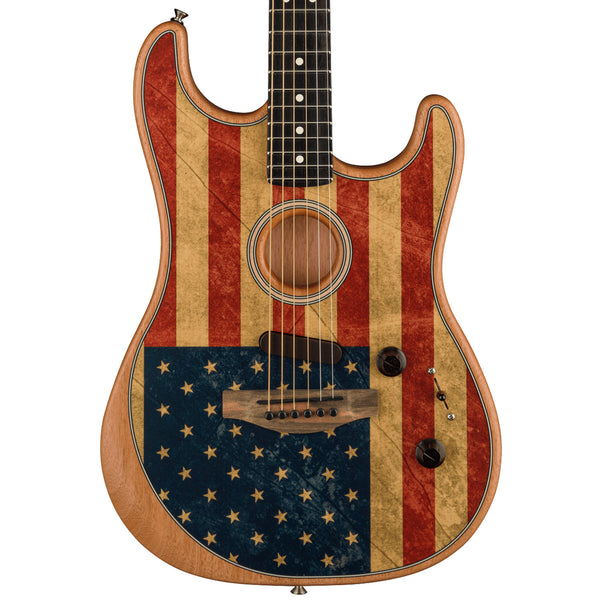 2020 Fender Acoustasonic Stratocaster - Limited Edition in American Flag Print - Ebony Fingerboard