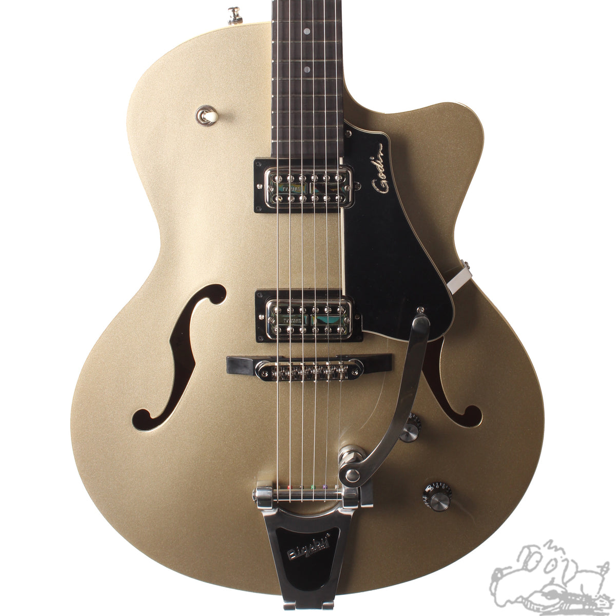 Godin 5th Avenue Uptown GT Ltd in Silver/Gold - Store Demo Model