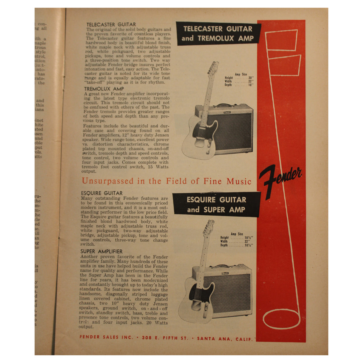 1956 Fender Catalog - Garrett Park Guitars  - 3