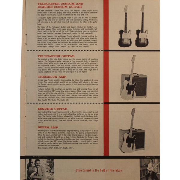 1959 Fender Catalog - Garrett Park Guitars  - 3