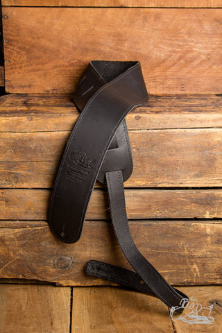 "Garrett Park Guitars 2.5"" Embossed Genuine Leather Black Guitar Strap"