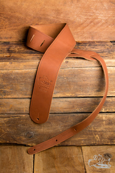 "Garrett Park Guitars 2.5"" Embossed Genuine Leather Brown Guitar Strap"