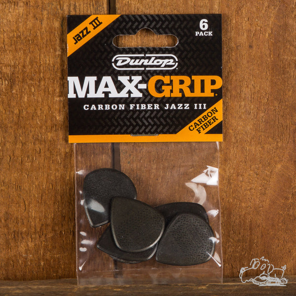 Dunlop Max-Grip Carbon Fiber Jazz III Picks 6-Pack