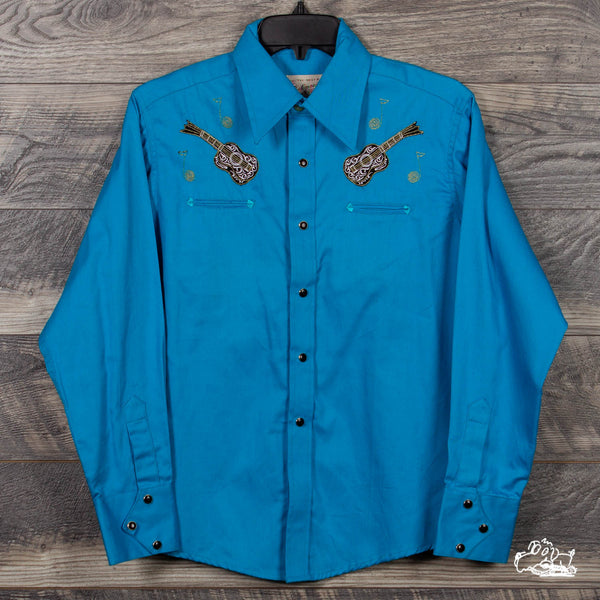Rockmount Ranch Wear - Kid's Vintage Guitar Embroidery Western Shirt - Turquoise