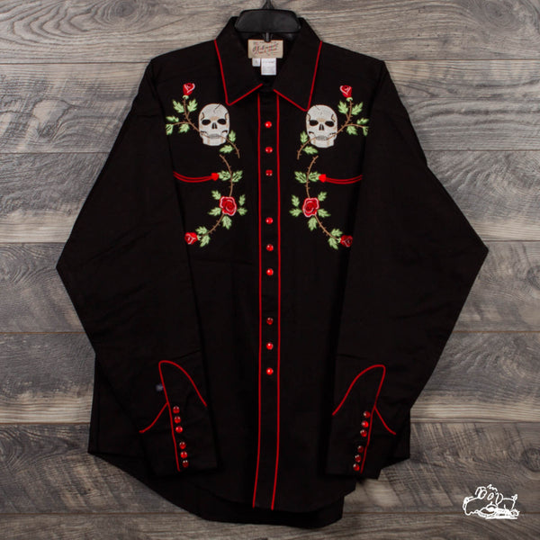 Rockmount Ranch Wear - Men's Skulls & Roses Vintage Embroidered Western Shirt