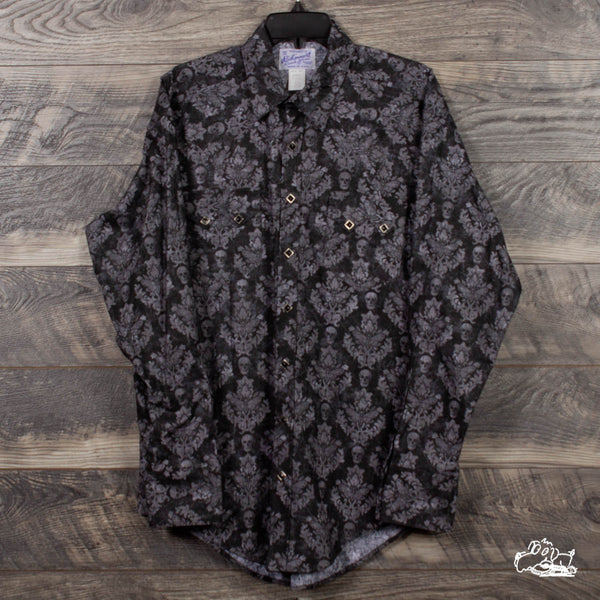 Rockmount Ranch Wear - Men's Charcoal Skulls & Moths Print Western Shirt