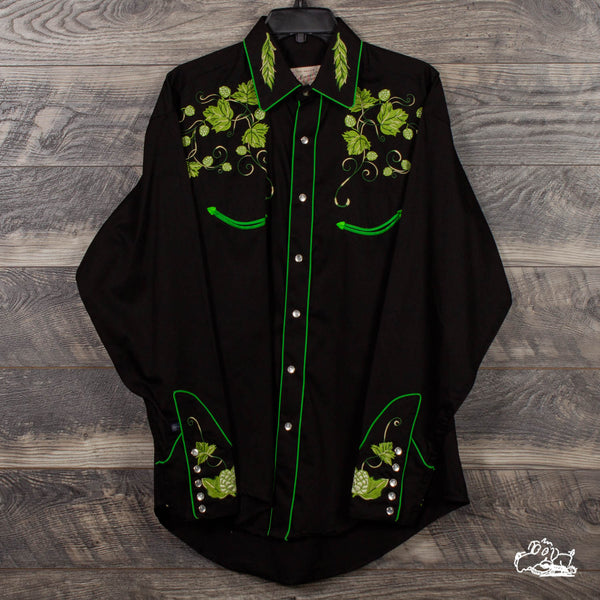 Rockmount Ranch Wear - Men's Vintage Beer Hops Embroidered Western Shirt - Black