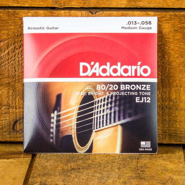 D'Addario 13-56 80/20 Bronze Acoustic Guitar Strings - EJ12