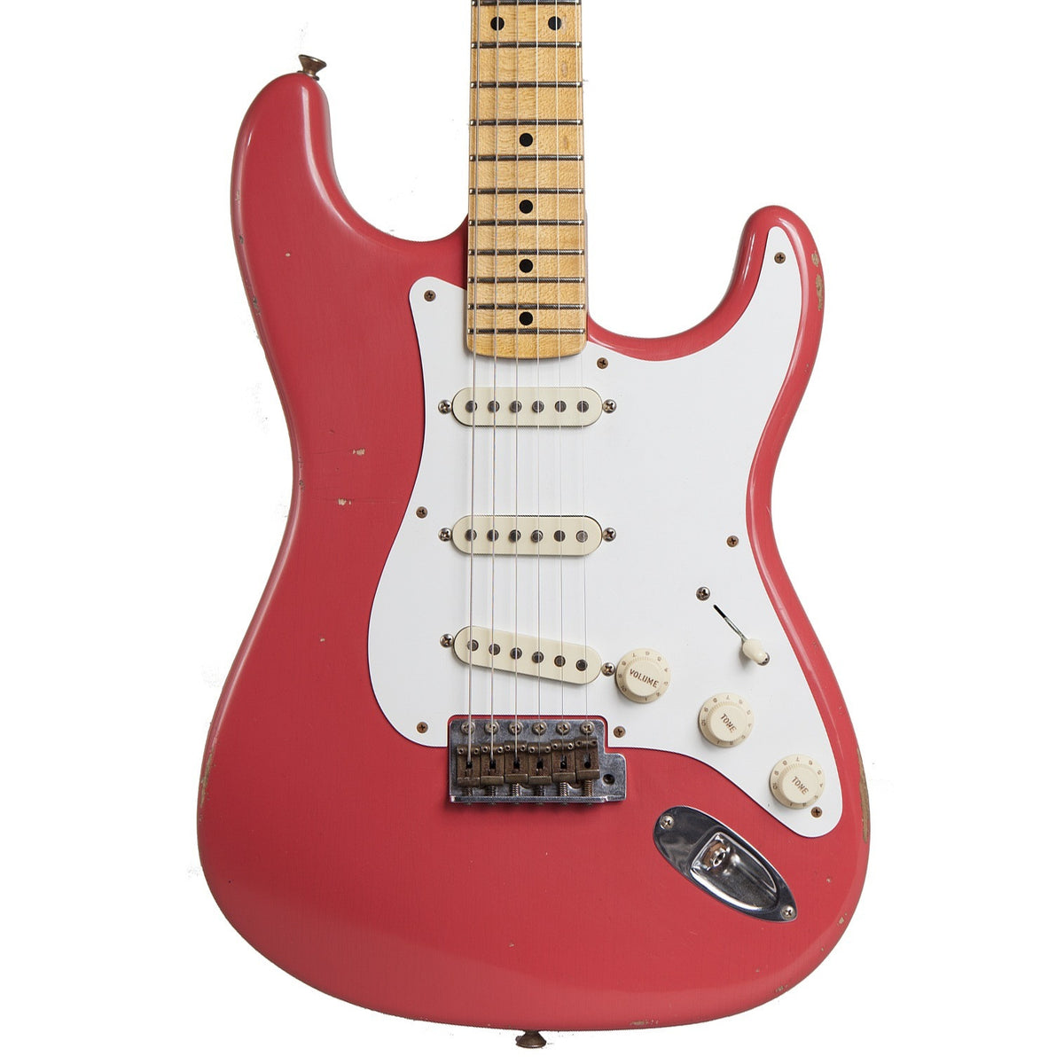 2014 Fender '57 Stratocaster Journeyman Relic, Faded Fiesta Red - Garrett Park Guitars  - 2