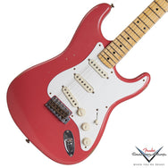 2014 Fender '57 Stratocaster Journeyman Relic, Faded Fiesta Red - Garrett Park Guitars  - 1