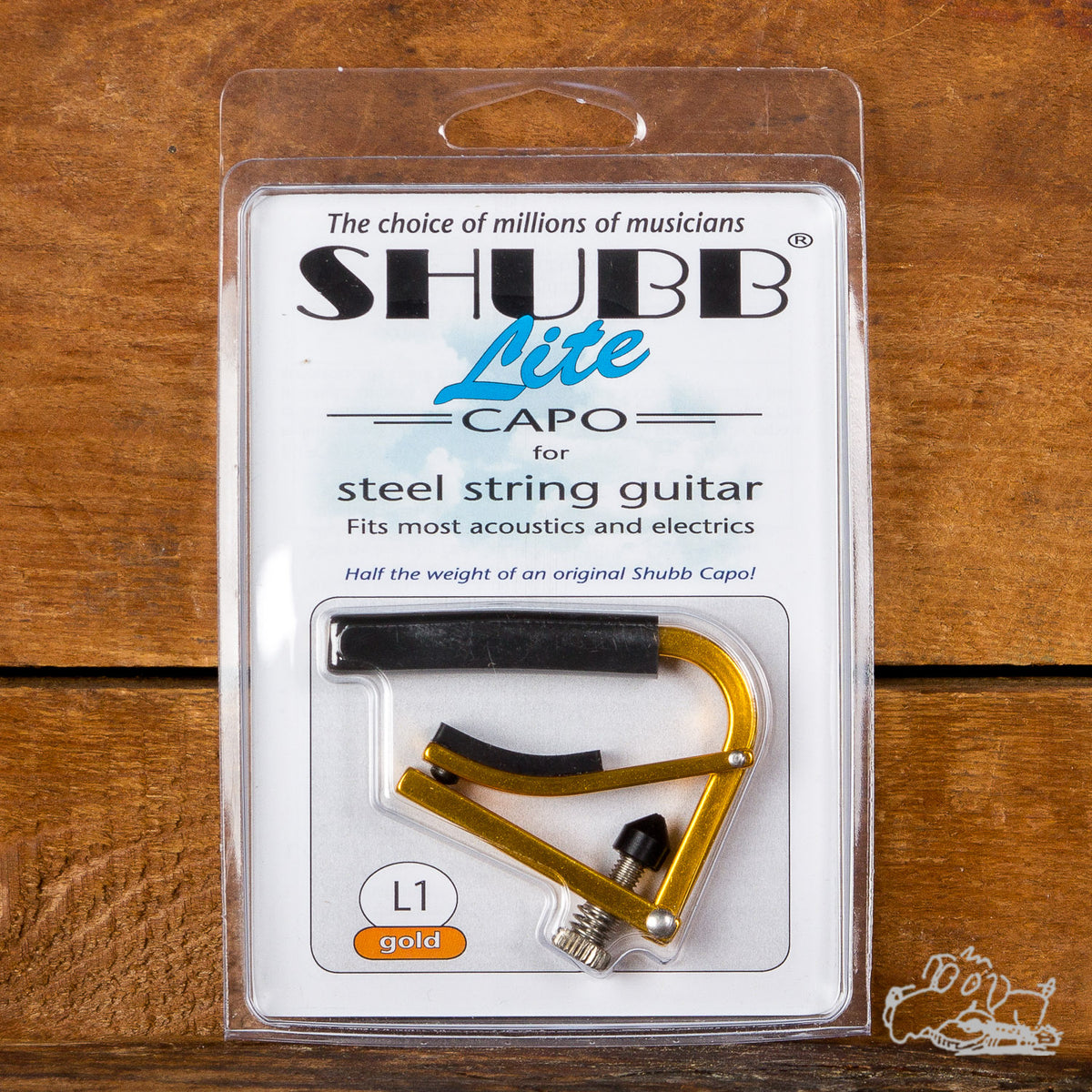 Gold Shubb Lite Steel String Acoustic or Electric Guitar Capo
