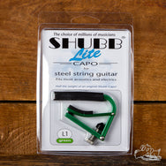 Green Shubb Lite Steel String Acoustic or Electric Guitar Capo