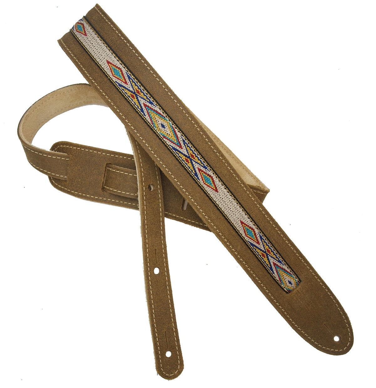 "LM The Vinny 2"" Suede Guitar Strap with Southwestern Braid Center"
