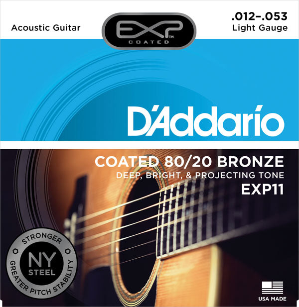 D'Addario 12-53 80/20 Bronze Acoustic Guitar Strings - EXP11