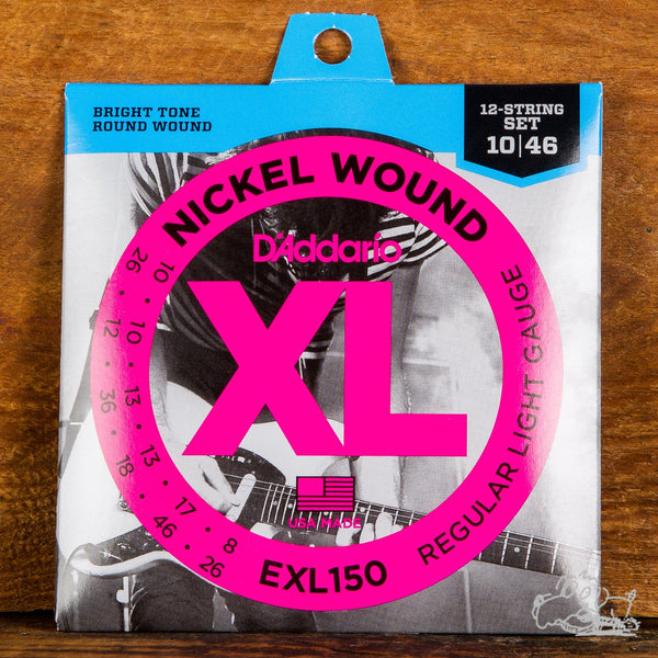 D'Addario XL 12-String Electric Guitar Strings Nickel Would Light 10-46