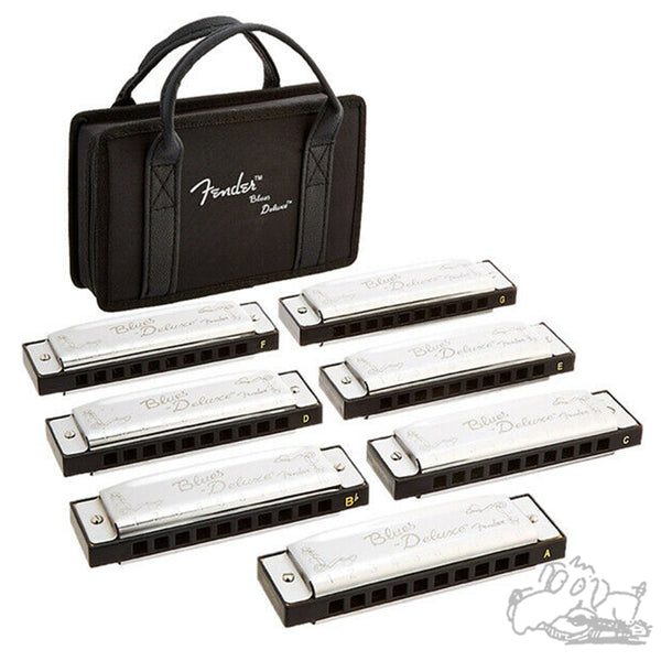 Fender Blues Deluxe Harmonica 7 Pack with Case