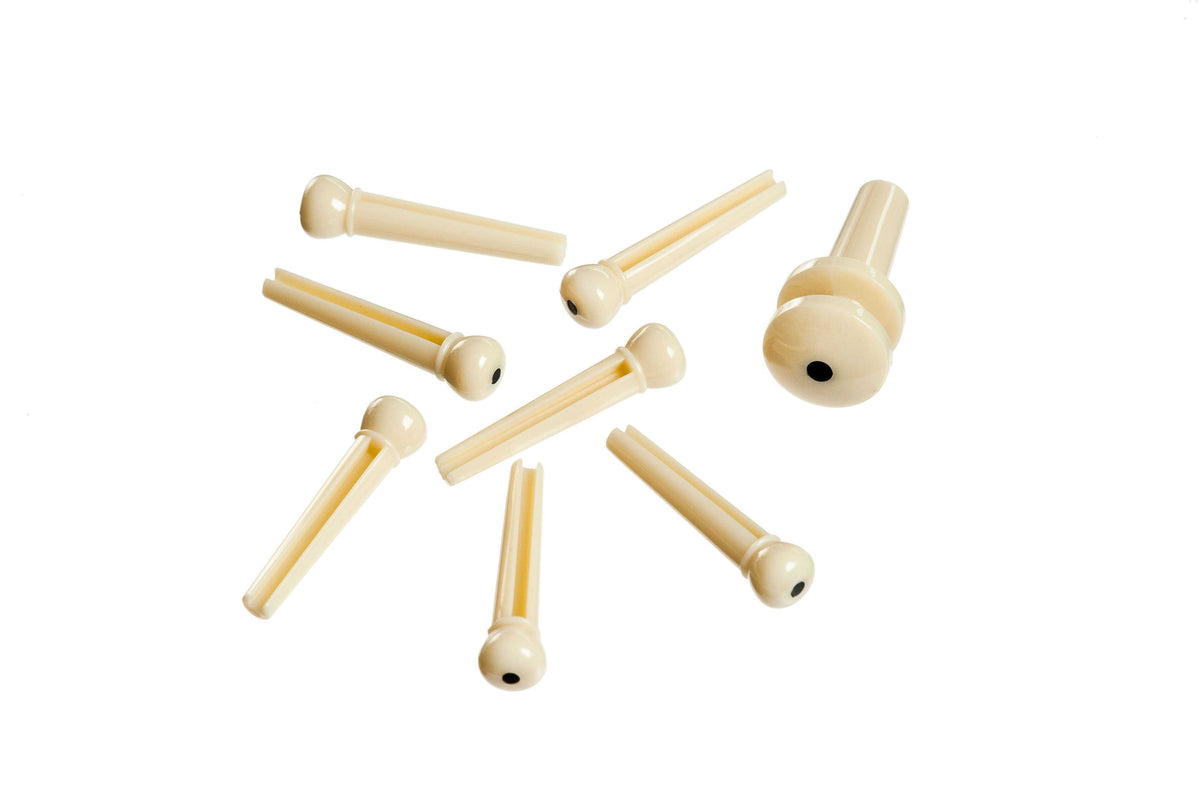 D'Addario Planet Waves Plastic Bridge & End Pins for Guitar - Ivory with Black Dot