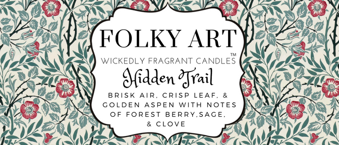 Hidden Trail Jar Candle label Folky Art Candles