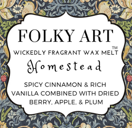 Homestead Wax Melt label - Folky Art Candles