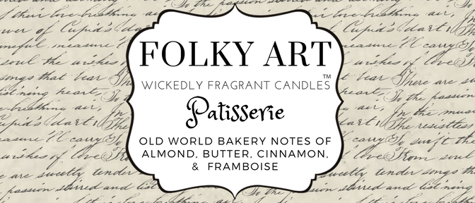 Patisserie label picture Folky Art Candles