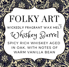 Whiskey Barrel Wax Melt label Folky Art Candles