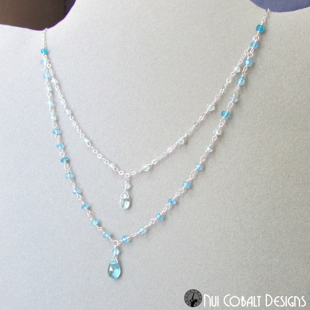 gold blue waterfall white sapphire necklace gabriel