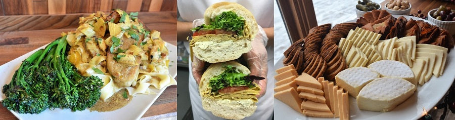 banner image of three different vegan dishes: chicken and broccolini, sub sandwich, and charcuterie platter
