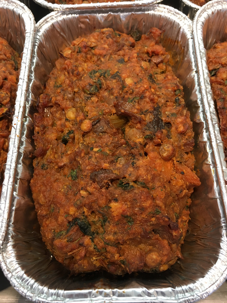 vegan meatloaf in an aluminum pan