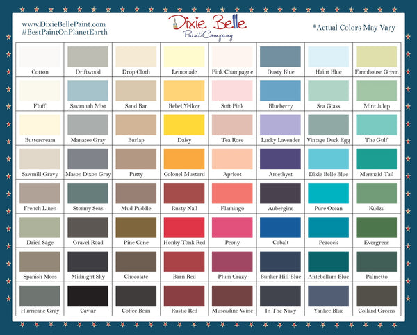 Dixe Belle Paint Colour Chart